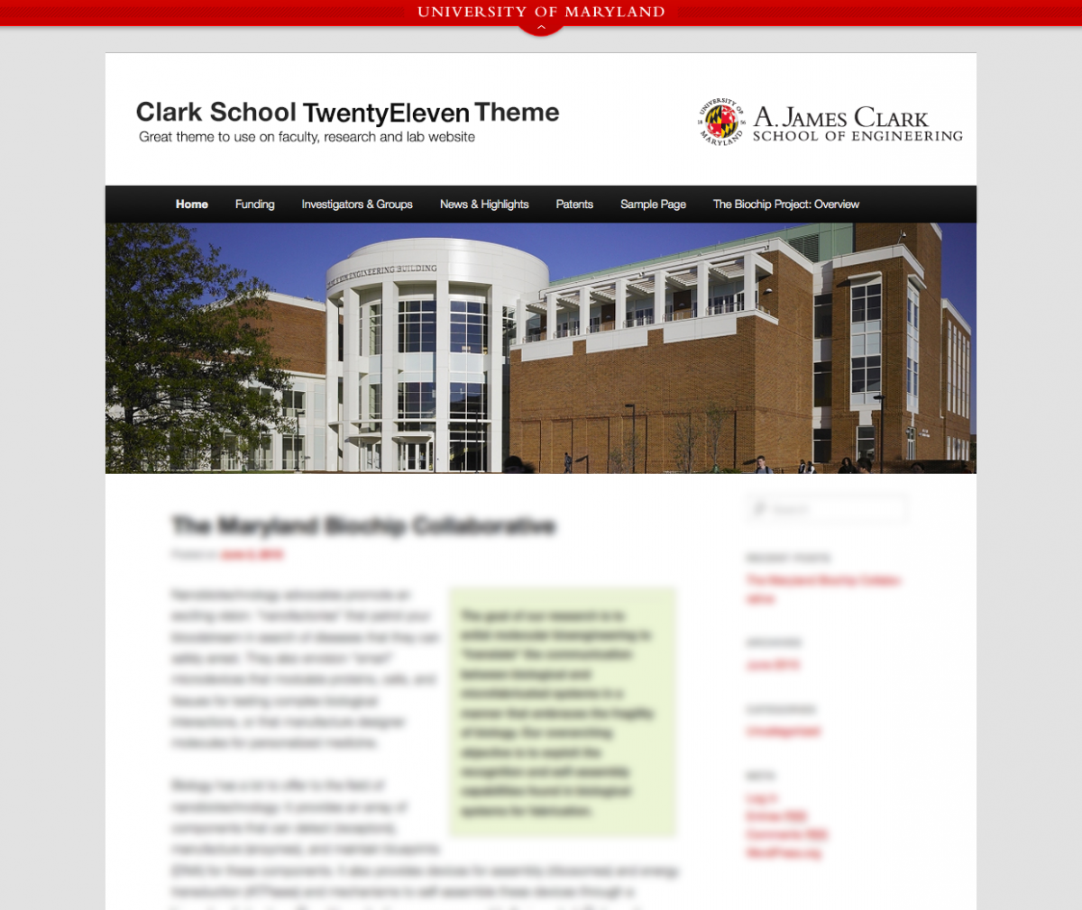 Clark School WordPress Twenty Eleven Theme