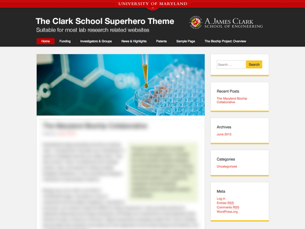 Clark School WordPress Superhero Theme