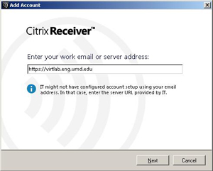 Citrix Receiver Add Account