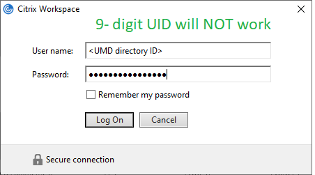 Citrix login with UMD directory ID